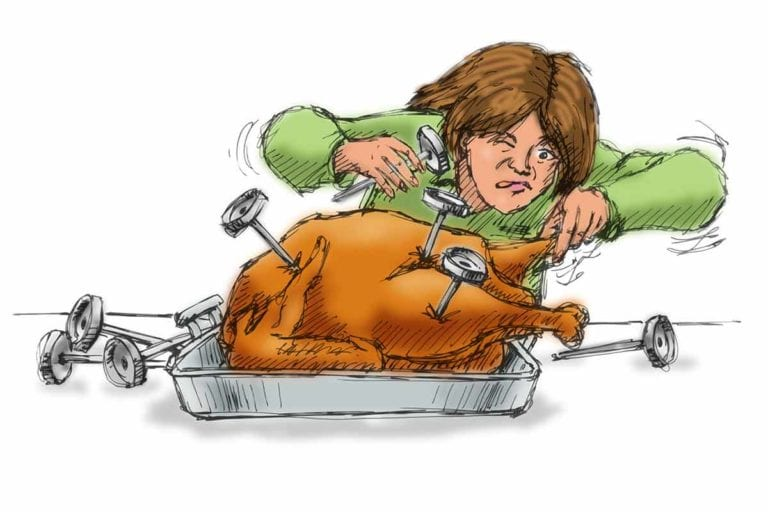 An illustration of a cooked turkey with several thermometers in it and a frustrated cook.