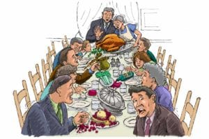 An illustration of a Thanksgiving table with many disasters occurring.