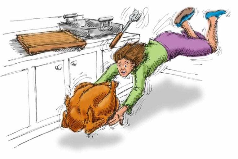 An illustration of a woman attempting to catch a whole turkey as it falls to the ground.
