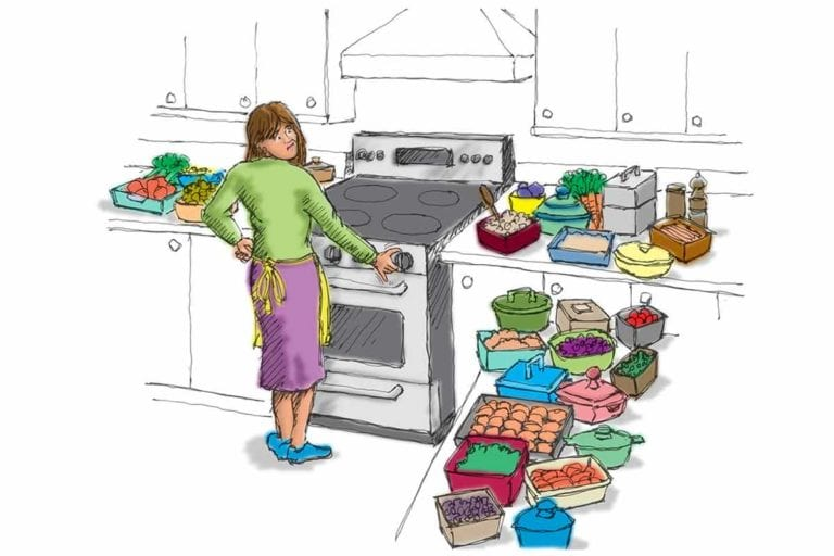 An illustration of a cook standing at the stove surrounded by many dishes.
