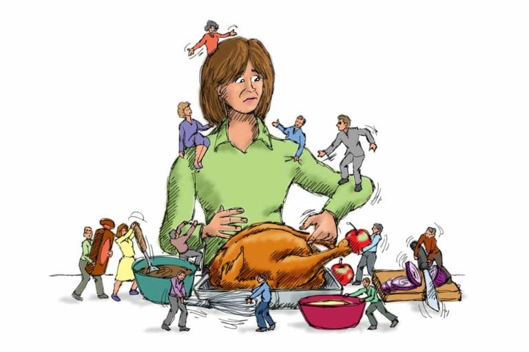An illustration of a woman with many small people climbing over her and the turkey and side dishes.