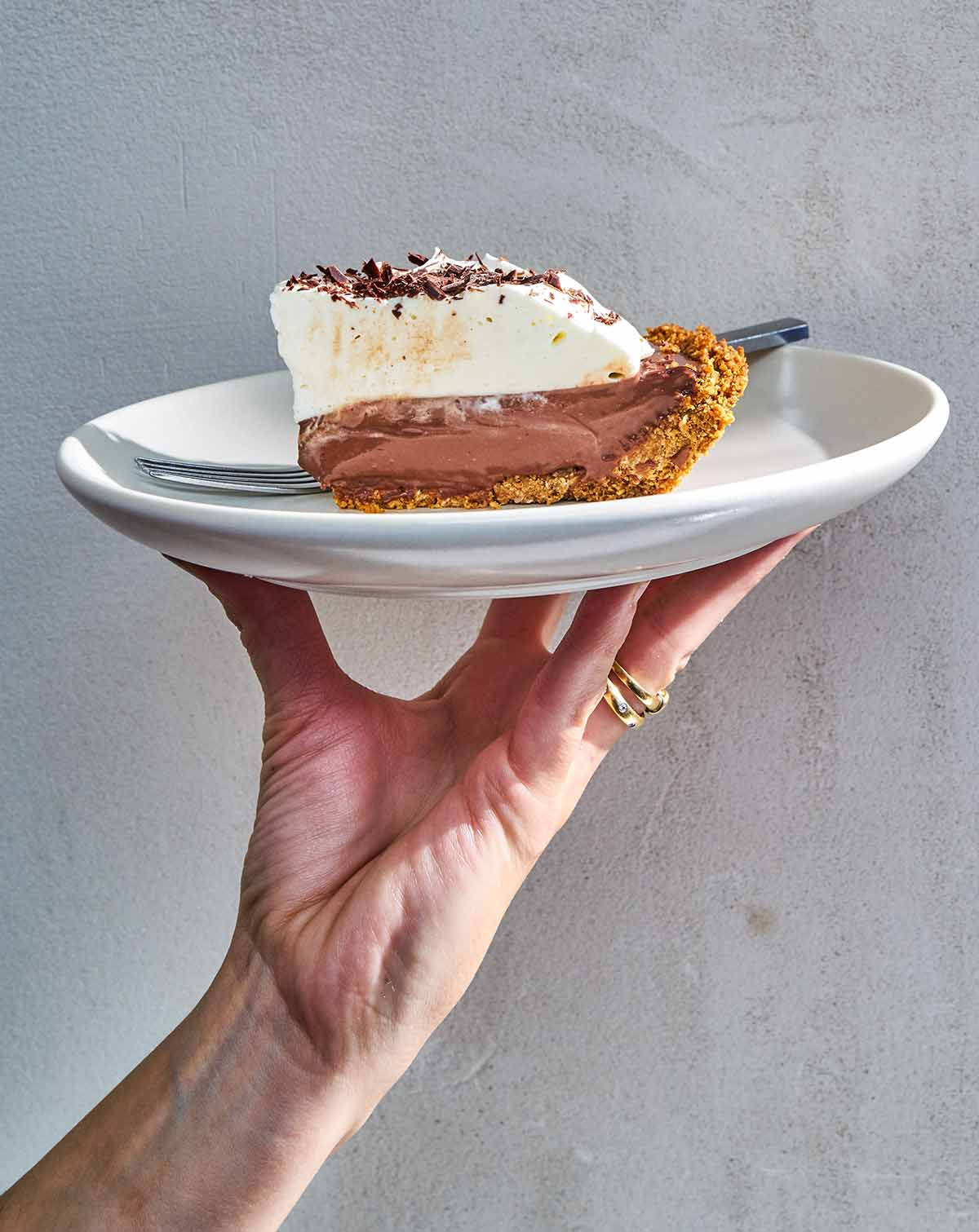 A person holding a white plate with a slice of dark chocolate pudding pie and a fork.