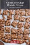 Squares of chocolate chip crisps on a sheet of parchment paper.