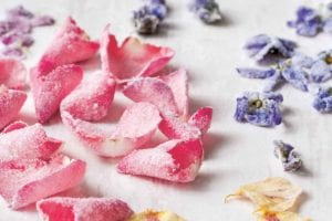 Several varieties of crystallized flowers scattered across a white surface.