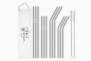 Twelve Highwire reusable straws, two brushes, and a carrying bag.
