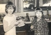 Renee and her brother captured in a childhood photo as discussed in 'Comfort Me With Doughnuts'.