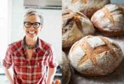 Images of Zoë François talking about baking no-knead bread while quarantined.