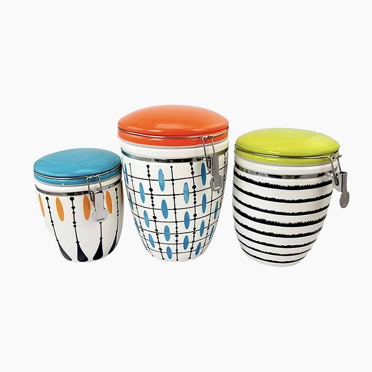 A 3 piece kitchen canister set with retro patterns.