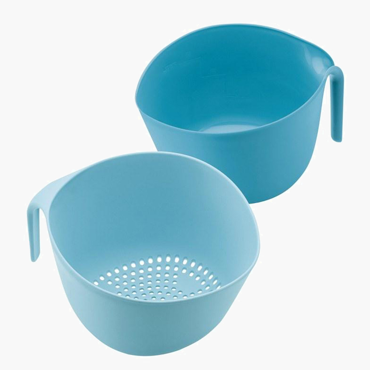 A blue bowl and colander as part of the Ayesha Curry bowl set.