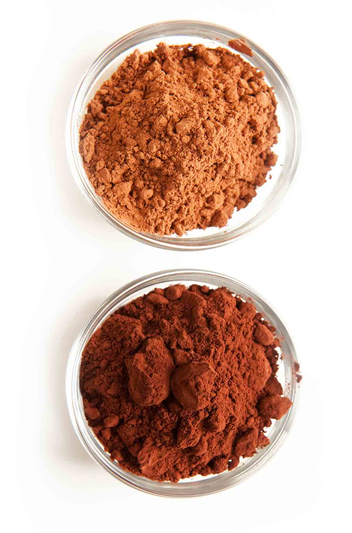 Two bowls of cocoa powders for the writing, what's the difference between cocoa powders?