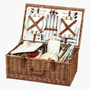 A Dorset picnic basket with service for four.