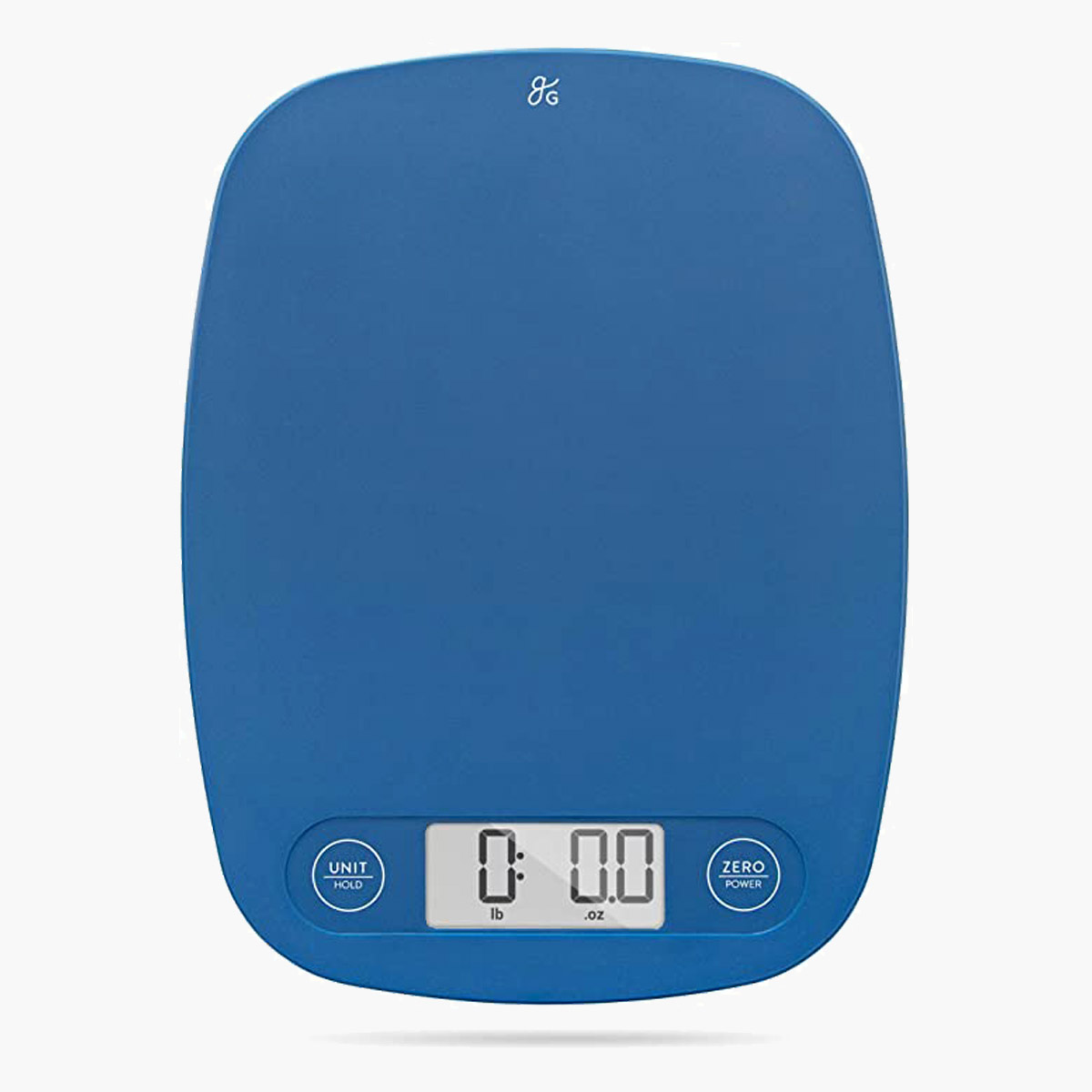 A blue Greater Good kitchen scale.