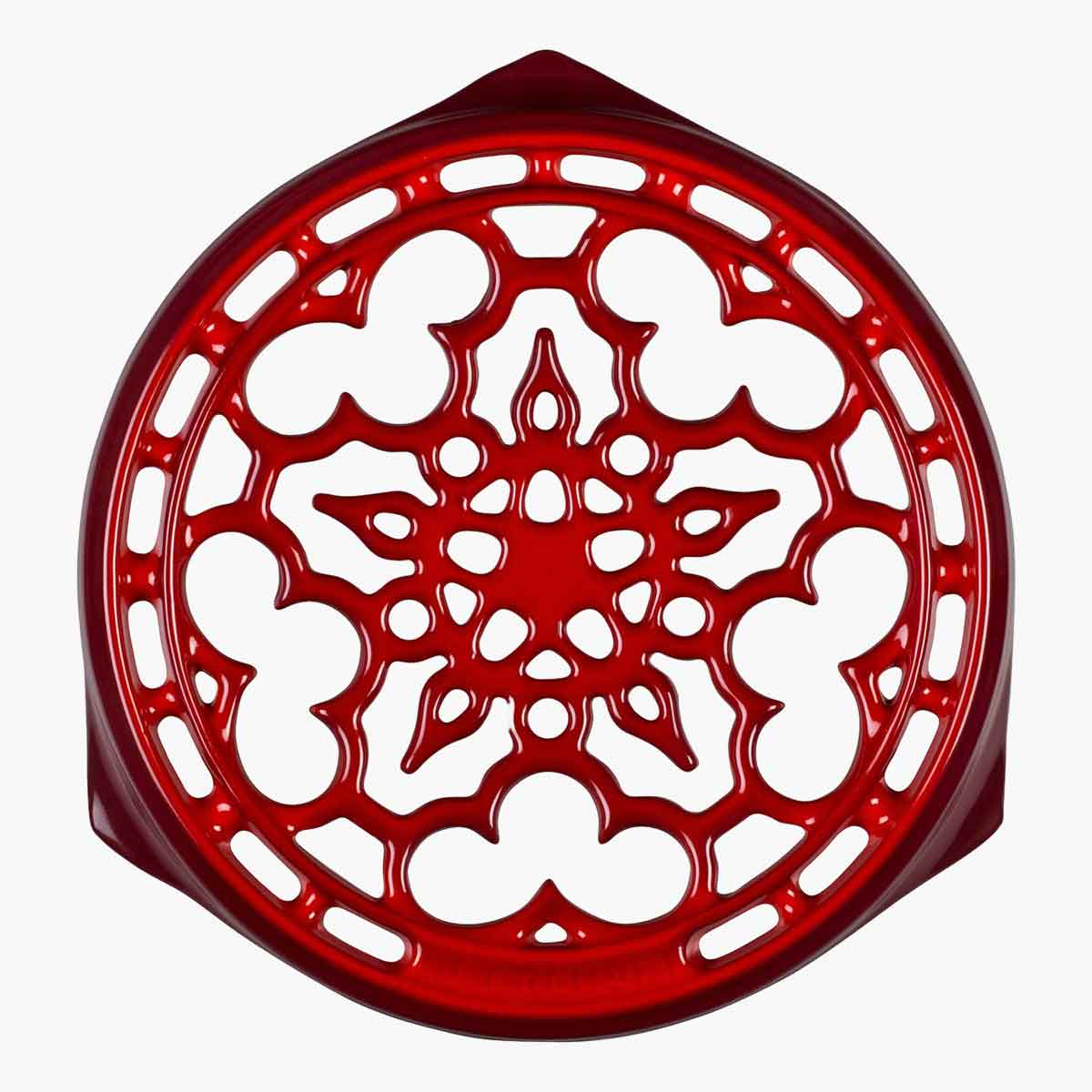 A red Deluxe Round Trivet.