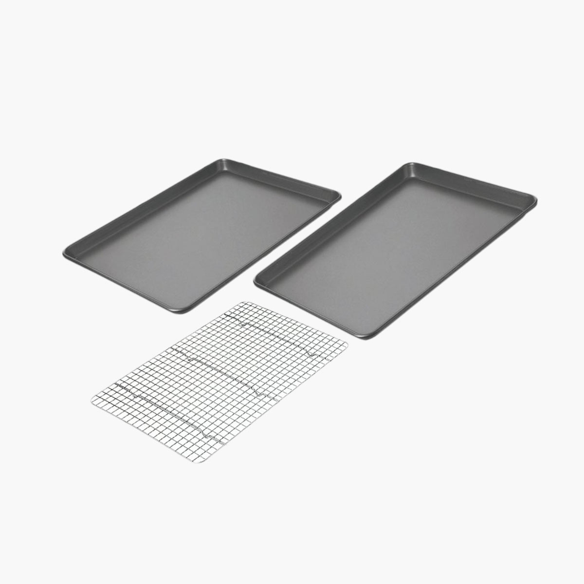 A set of two baking sheets and a wire mesh rack.
