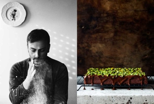 An image of Cenk Sönmezsoy dusting his hands with flour and a chocolate cake with chocolate drizzle and pistachio topping.