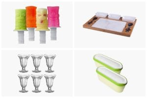 A grid of four images as part of the summer survival guide to help you stay cool during the dog days of summer including, ice pop molds, sundae glasses, ice cream containers, and a marble slab.