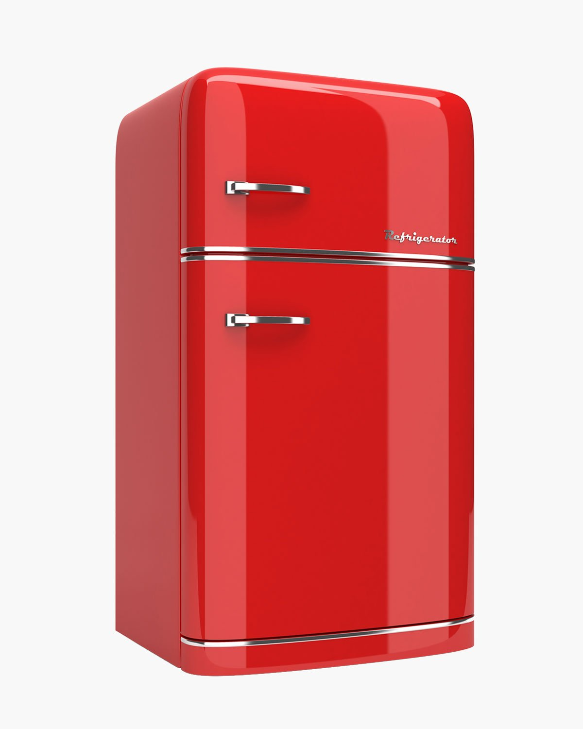 A red retro-style refrigerator for keeping our cold kitchen 100 recipes cool.