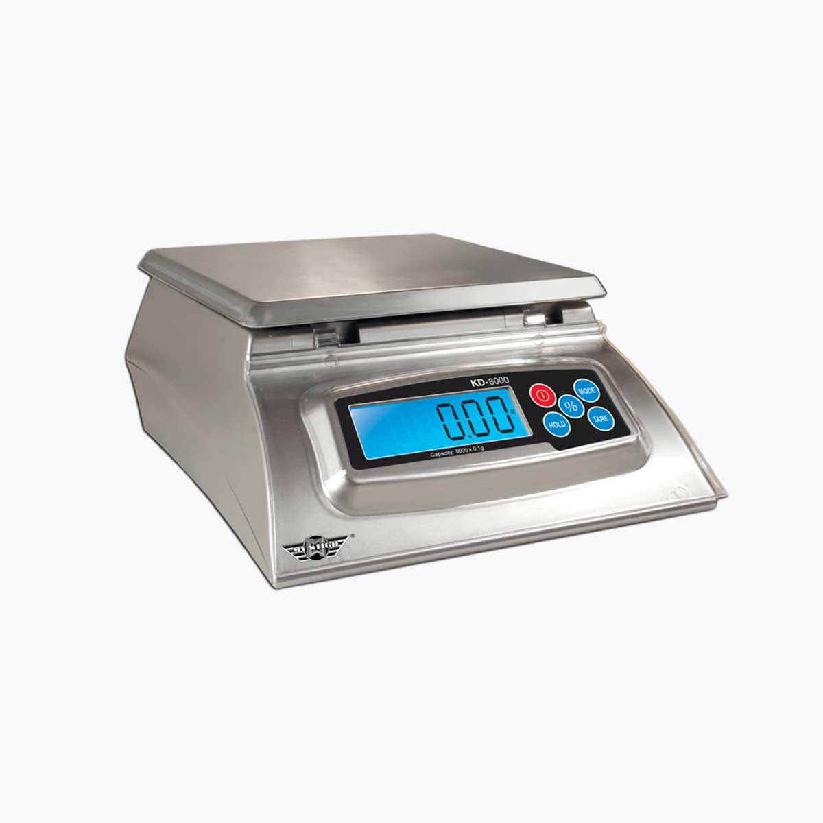 A stainless steel My Weight kitchen digital scale.