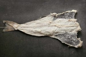 A plank of dried salt cod