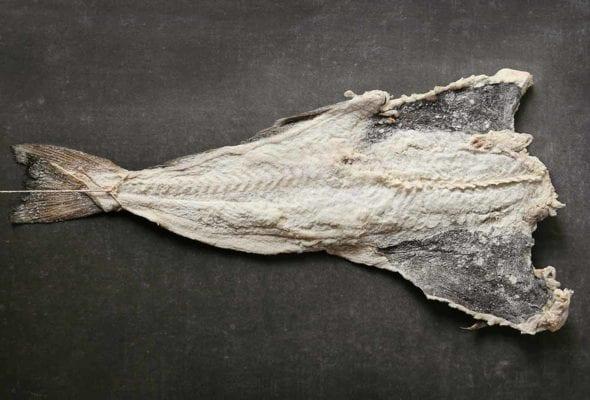 A plank of dried salt cod
