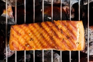 A piece of grilled salmon on an open grill to how how to grill salmon.