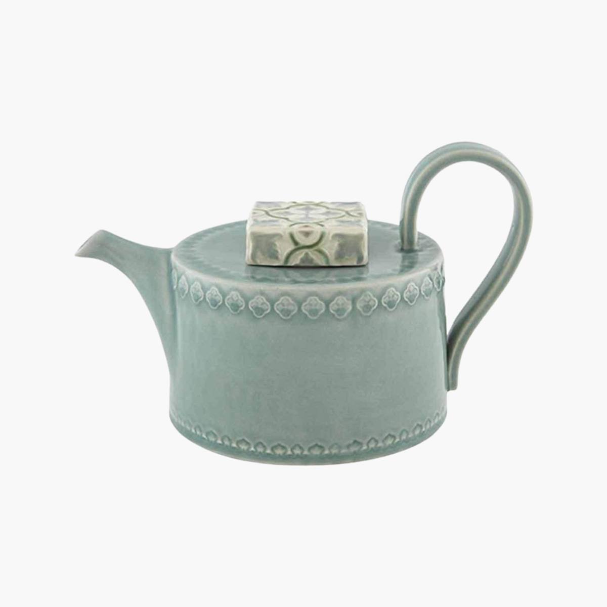 A ceramic Nova blue tea pot.