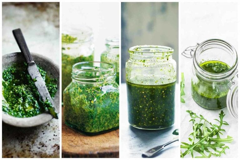 Four pesto-filled jars made from four different pesto recipes.