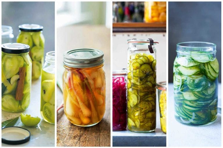 Four images of pickle recipes.