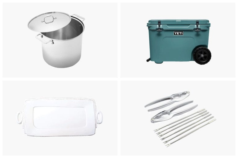 A grid of seafood feast essentials, including a pot, cooler, platter, and seafood forks.