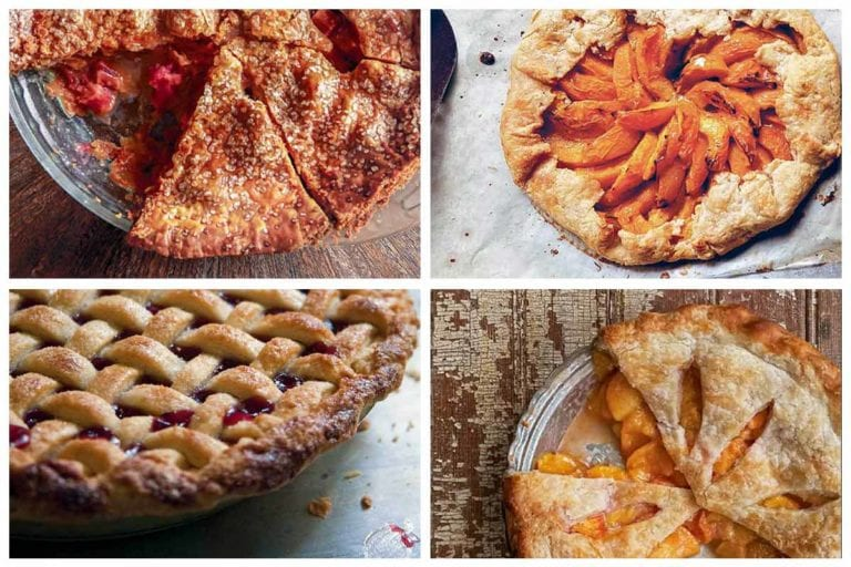 Four different summer pies, including cherry, rhubarb, apricot, and peach.