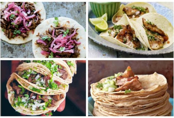 Images of four different taco recipes, including ancho short rib tacos, grilled red snapper tacos, beef tongue tacos, and carnitas tacos