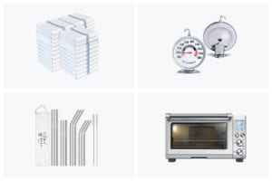 A grid of the tools we can't live without including kitchen towels, oven thermometer, reusable straws, and a Breville smart oven.