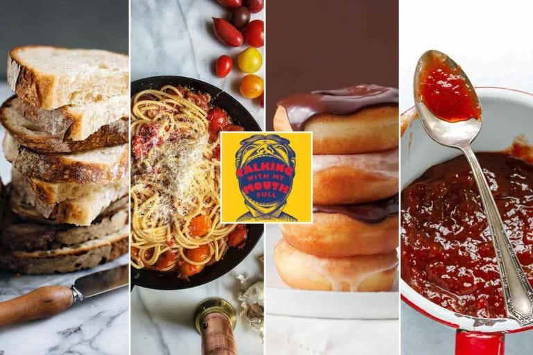 Images related to the Talking With My Mouth Full - Bread, Pasta, Donuts, and Instant Gratification Jams podcast.