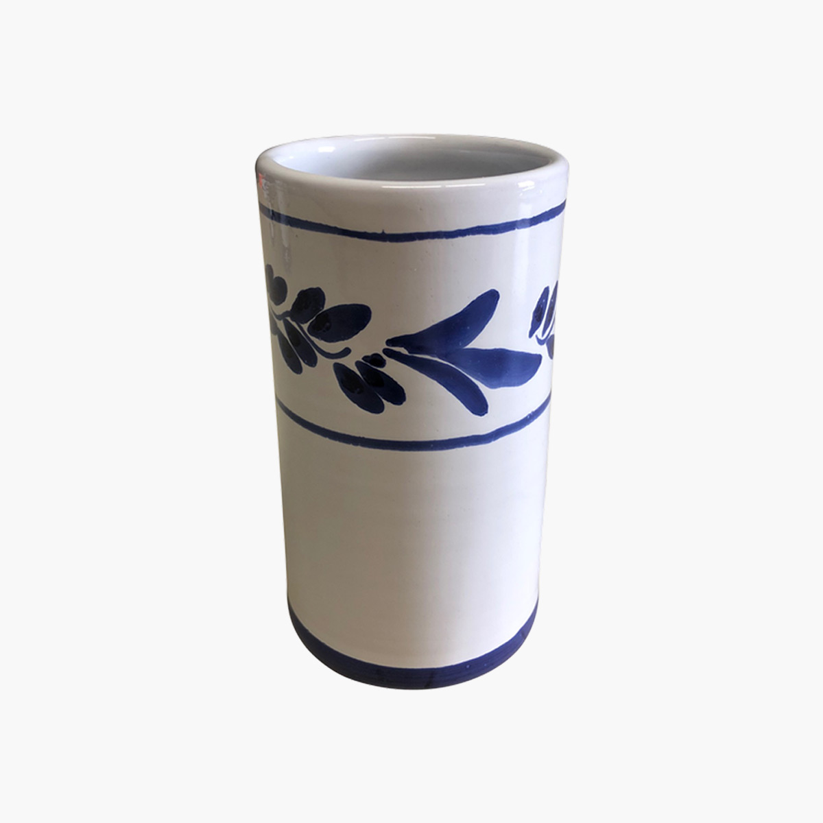 A blue and white Vieira hand crafted vase.