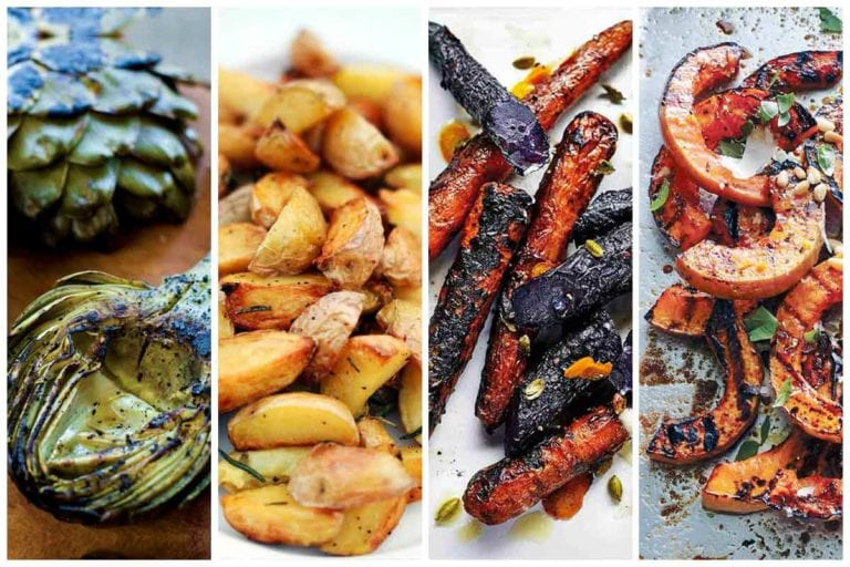 Image of 4 of 12 grilled vegetables recipes, including grilled artichokes, roasted potatoes, grilled carrots, and grilled squash.