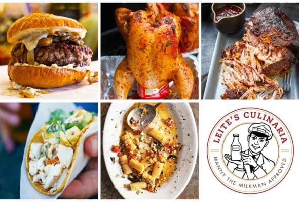 A grid of five weeknight winners recipes and an image of the Manny the Milkman logo.