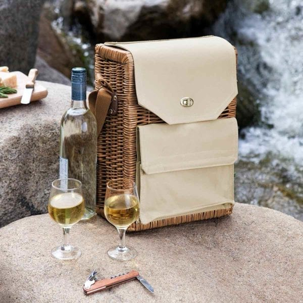 Corsica Wine and Cheese Picnic Basket with Cheese on a table