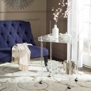 Healy Acrylic Bar Cart in Living Room