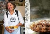 A split image of Kate McDermott holding a pie and a cooked pie on a window ledge.