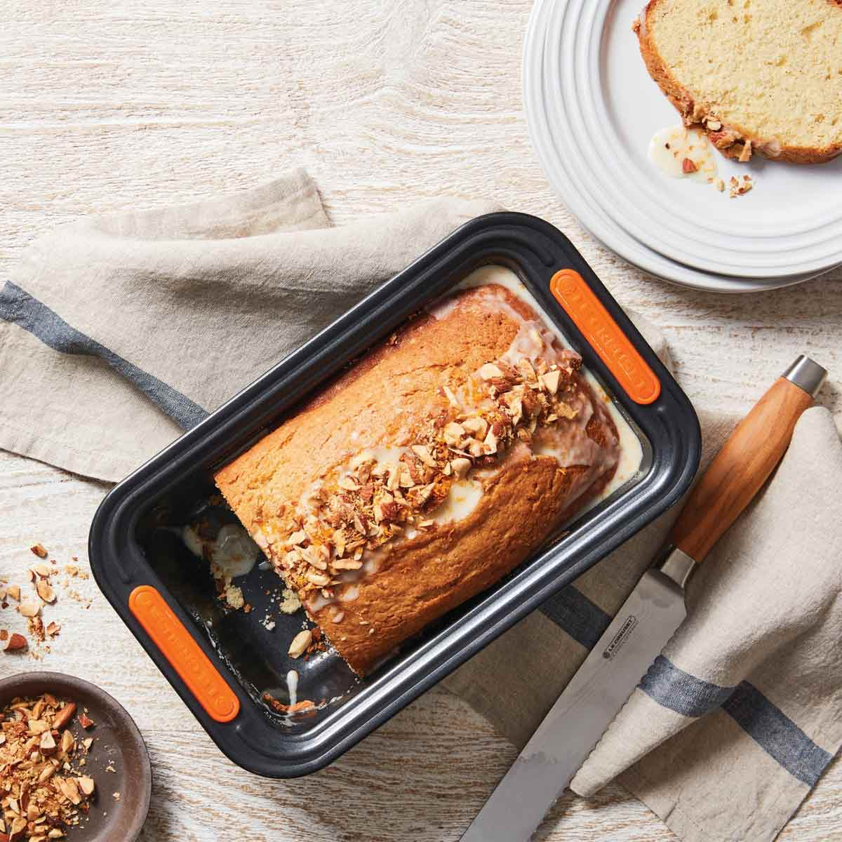 Le Creuset Loaf Pan with Bread