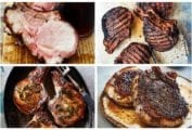 A grid of featured images from the 15 pork chop recipes roundup including, roast pork loin, pickle brined pork chops, coffee crusted pork chops, and Cambodian pork chops.