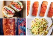 A grid featuring 4 of 7 salmon recipes, including lemony salmon pasta, salmon banh mi sandwiches, maple glazed salmon, and cedar plank-grilled salmon.