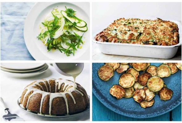 A grid of our best zucchini recipes including zucchini and fennel salad, strata, cake, and crisps.