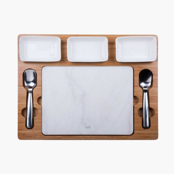 Parlor Ice Cream Mixing Set of 3 Bowls, 2 Spoons and a Marble Board