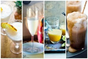 A collection of our favorite 7 frozen drinks with images of pina colada, sgroppino, apricot daiquiri, and Guinness float.