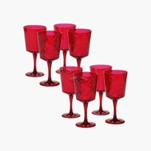 Set of 8 Ruby Acrylic All-Purpose Goblets.
