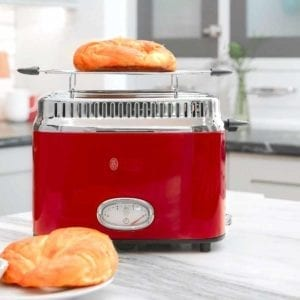 A Red Russell Hobbs 2-Slice Retro Toaster with Croissants