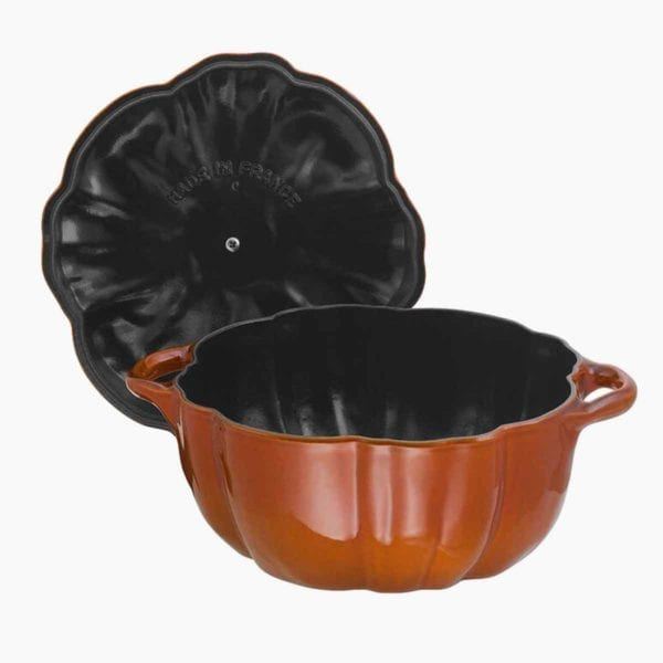 Staub Cast Iron 3.5qt. Pumpkin Cocotte with lid open.