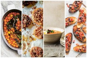 Four images of ways to use up a glut of tomatoes including tomato confit, tomatoes provencal, tomato soup, and bruschetta.