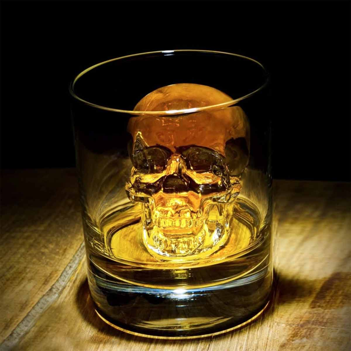 3D Silicon Skull Ice Cube Mold Tray in Glass